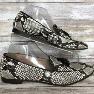 J Crew Italy 9M Snake Print Leather Tassel Loafers